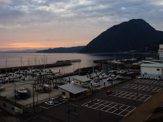 Beppu, Japan - October 31, 2016: Sunset over Kitahama Yacht Harbor at Beppu port