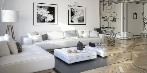 Raumgestaltung: Sitzgarnitur (Konzeption panoramisch)