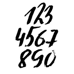 Set of calligraphic ink numbers. Textured brush lettering. Vector illustration.