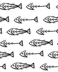 Skeleton fish seamless pattern, fish bones on white background