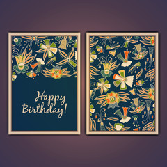 Happy birthday vector greeting card with abstract doodle flowers.