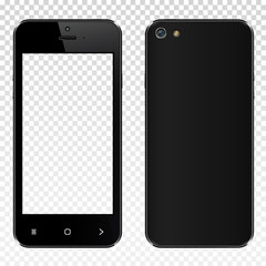 Realistic black smartphone with transparent screen isolated. Front and back display view.