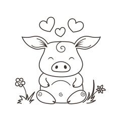 Cute cartoon pig in love. Symbol of New 2019 Year