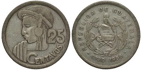 Guatemala Guatemalan coin twenty five centavo 1958, Indian head left, large denomination, arms, bird, guns, swords, laurel branch, silver,