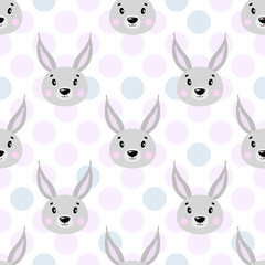Cute vector seamless pattern with rabbit face, hare. On white background in polka dots.