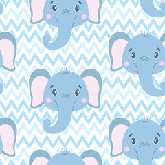 Cute vector seamless pattern with elephant face. On white zigzag background. Cartoon illustrration.