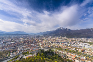 Grenoble city seeing from Bastille viewpoint in France