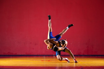 Two young men in blue wrestling tights are wrestlng and making a suplex wrestling on a yellow wrestling carpet in the gym