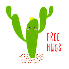Cactus free hugs. Hand drawm cartoon cactus in the desert. Flat style design vector illustration isolated on white backgroud.
