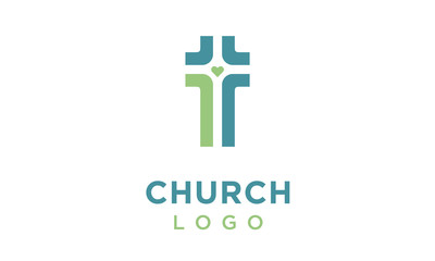 Crossroad with Heart in the middle for Christian or Church logo design inspiration
