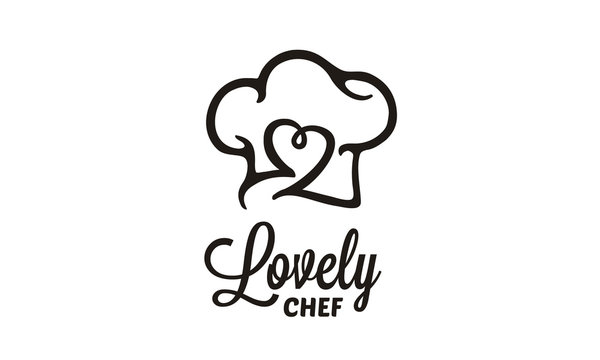 Kitchen Chef Hat with Heart Love for Delicious Restaurant Food Bar Bakery logo design