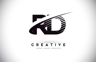 RD R D Letter Logo Design with Swoosh and Black Lines.