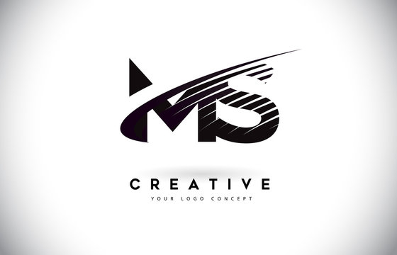 MS M S Letter Logo Design with Swoosh and Black Lines.