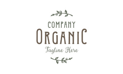 Organic Typography Label Vintage logo design inspiration