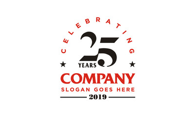 Anniversary 25th company logo design inspiration