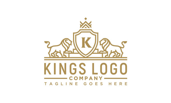 Golden Royal Lion King Crown Premium Classic Luxury Elegant Crest logo design inspiration