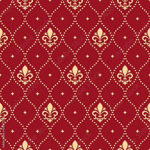 Wallpaper In The Style Of Baroque A Seamless Vector Background Red And Gold Floral