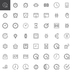 Time outline icons set. linear style symbols collection, line signs pack. vector graphics. Set includes icons as smartwatch, watch, alarm, clock, timer, stopwatch, hour calendar hourglass