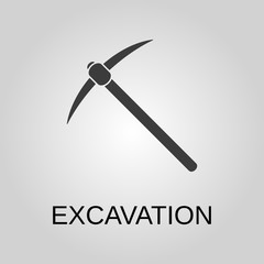 Excavation icon. Excavation symbol. Flat design. Stock - Vector illustration