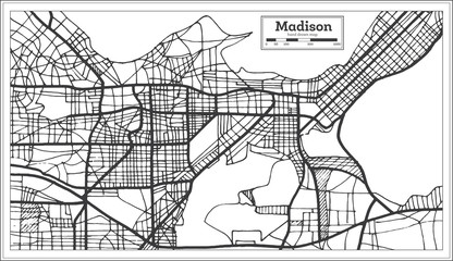 Madison USA City Map in Retro Style. Outline Map.