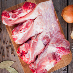 Raw pork stew for cooking, top view, square