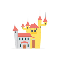 Flat cartoon castle with isolated white background vector illustration