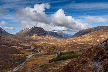 Beautiful panoramic images from Glencoe valley in the Highlands of Scotland - amazing views, breathtaking scenery, a real celebration of nature - perfect relaxation spot to enjoy the wilderness