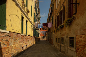 a typical narrow alley in Venice