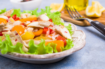 Fish fillet with raw vegetables
