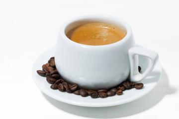 morning mug of espresso on a white background, closeup