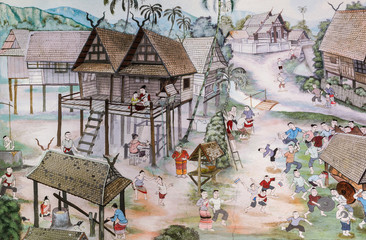 Thai Lanna mural painting of Thai people life in the past on temple wall in Chiang Mai, Thailand