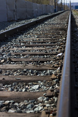 Railway track, rails, sleepers, close-up, top view