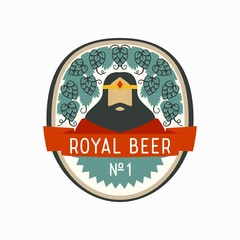 Royal beer label with cartoon king and hop cones