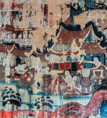 Ancient Thai Lanna style mural painting  of the life of Buddha