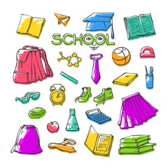 Vector school clothes stationery. Various stylish symbols education for design. Bright set contour illustrations with offset color. Drawn art stylized letters with face.