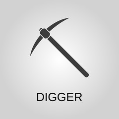 Digger icon. Digger symbol. Flat design. Stock - Vector illustration