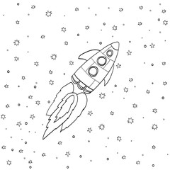 Cartoon rocket on space background, vector illustration.