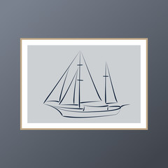Yacht poster for interior decor