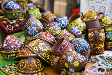 decorative original painted pots of clay