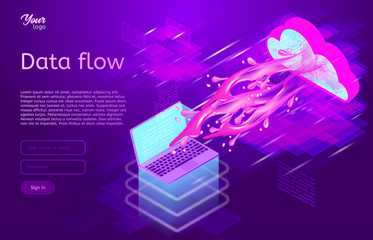 Data flow design concept. Isometric vector illustration in ultraviolet colors. Process of data movement between components.