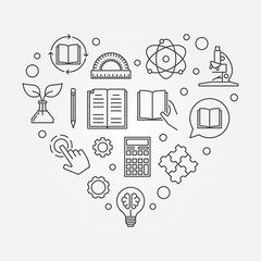 Education heart vector illustration in line style