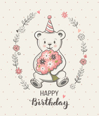 Cute little bear cartoon, vector illustration, happy birthday greeting card, posters for baby room, kids and baby t-shirts and wear, hand drawn nursery illustration