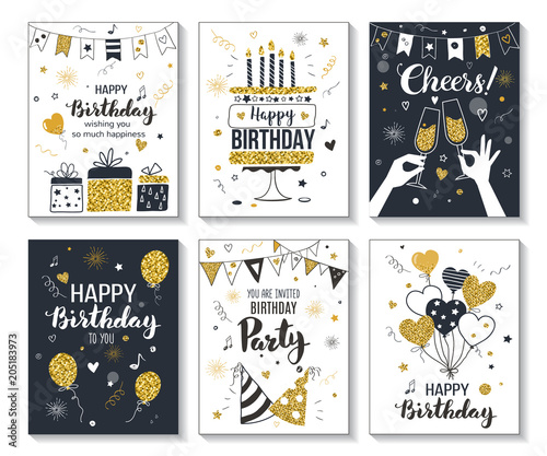 Happy Birthday Greeting Card And Party Invitation Templates Vector Illustration Hand Drawn Style Black Gold Colors