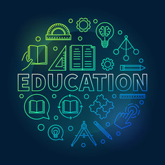 Education vector round colorful illustration in thin line style