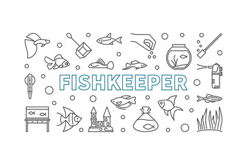 Fishkeeper vector horizontal banner or illustration in line style