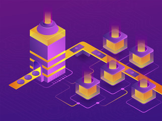 Cryptocurrency mining farm. Creation of bitcoins. 3d isometric vector illustration.