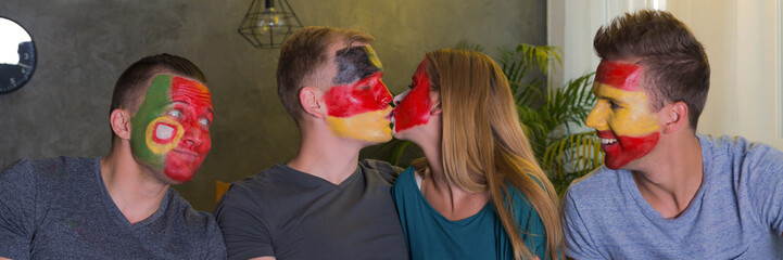 Kissing opponent sport fan
