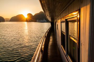 Beautiful sunset at Halong bay, Vietnam