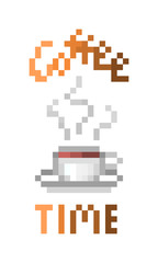 Coffee time, pixel art print design isolated on white background. Coffee to go sticker in 8 bit font. Hot beverage menu logo. Stylish poster template for cafe/restaurant/coffee house/fast food place.
