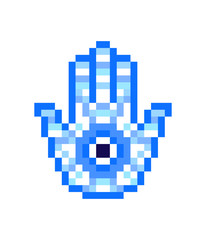 Blue hamsa hand with nazar, pixel art icon isolated on white background. Jewish magic amulet symbol. Religious protection sign. Israel souvenir. Jewelry pendant, defense against the evil eye and curse